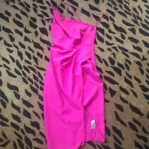 One shoulder hot pink dress
